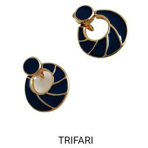 Vintage Trifari blue enamel dangling clip earrings